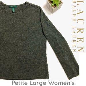 Ralph Lauren Petite long sleeve hunter green shirt